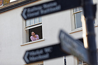 Pictured: Ewan Donaldson who is self-isolating in his flat in Neath, Wales, UK. Friday 27 March 2020<br /> Re: Covid-19 Coronavirus pandemic, UK.
