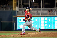 Springfield Cardinals catcher Jose Godoy (27) pitches during a Texas League game against the Frisco RoughRiders on May 4, 2019 at Dr Pepper Ballpark in Frisco, Texas.  (Mike Augustin/Four Seam Images)