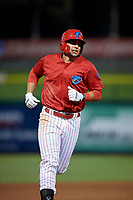 Clearwater Threshers first baseman Darick Hall (21) rounds the bases after hitting a seventh inning home run during a game against the Jupiter Hammerheads on April 12, 2018 at Spectrum Field in Clearwater, Florida.  Jupiter defeated Clearwater 8-4.  (Mike Janes/Four Seam Images)