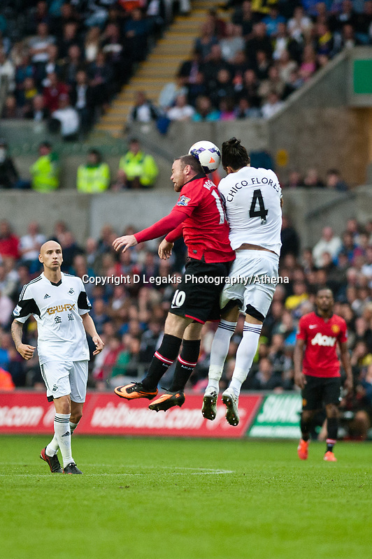 Saturday 17 August 2013<br /> <br /> Pictured: Chico Flores of Swansea<br /> <br /> Re: Barclays Premier League Swansea City v Manchester United at the Liberty Stadium, Swansea, Wales