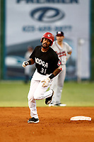 Jaylin Davis (31) of the Chattanooga Lookouts rounds the bases after his second homerun in a game against the Mississippi Braves on August 04, 2018 at AT&T Field in Chattanooga, Tennessee. (Andy Mitchell/Four Seam Images)
