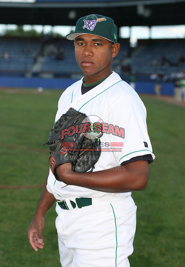Rafael Galbizo of the Jamestown Jammers, Class-A affiliate of the Florida Marlins, during New York-Penn League baseball action.  Photo by Mike Janes/Four Seam Images