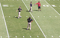 Stanford - September 13, 2014: David Shaw, head coach, as the team practices before the Stanford vs Army football game Saturday afternoon at Stanford Stadium.<br /> <br /> Stanford won 35-0.