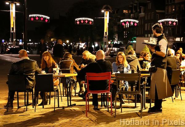 Amsterdam- Het terras  van cafe restaurant In de Waag op de Nieuwmarkt