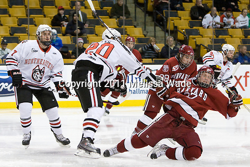 Anthony Bitetto (Northeastern - 7), Luke Eibler (Northeastern - 20), Michael Biega (Harvard - 27), Conor Morrison (Harvard - 38) - The Northeastern University Huskies defeated the Harvard University Crimson 4-0 in their Beanpot opener on Monday, February 7, 2011, at TD Garden in Boston, Massachusetts.