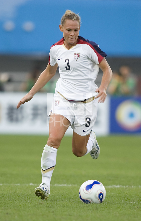 USA defender (3) Christie Rampone. The USA defeated Sweden 2-0 during their Group B first round game at the 2007 FIFA Women's World Cup at Chengdu Sports Center Stadium in Chengdu, China on September 14, 2007.