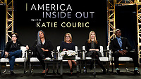 """PASADENA - JANUARY 13: (L-R) Co-Founder of Recode Kara Swisher, Advocate for Diversity and Inclusion in Tech Erica Baker, Host/Executive Producer Katie Couric, Screenwriter Allison Schroeder and President of JuVee Productions Julius Tennon during the """"AMERICA INSIDE OUT WITH KATIE COURIC"""" panel at the NATIONAL GEOGRAPHIC portion of the 2018 Winter TCA Press Tour at the Langham Huntington Hotel on January 13, 2018, in Pasadena, California. (Photo by Frank Micelotta/National Geographic/PictureGroup)"""