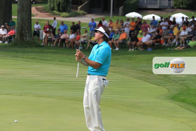 Phil Mickelson (USA) misses his birdie putt on the 16th green during Thursday's Round 1 of the 2012 World Golf Championship Bridgestone Invitational at The Firestone Country Club, Akron, Ohio, USA 2nd August 2012 (Photo Eoin Clarke/www.golffile.ie)