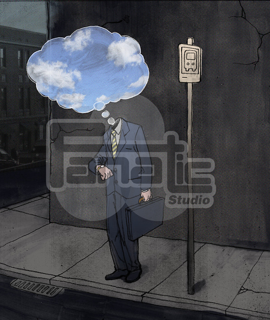 Depressed businessman standing at bus stand with thought bubble