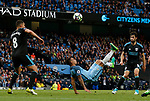 Gabriel Jesus of Manchester City attempts an overhead kick during the English Premier League match at the Etihad Stadium, Manchester. Picture date: May 16th 2017. Pic credit should read: Simon Bellis/Sportimage