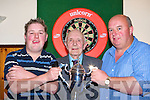 Leonard Fitzgerald and Gary McCormack preparing to play in the Scannell Darts cup final in Darby O'Gill's Killarney Friday night was l-r:  Leonard Fitzgerald, Eugene Scannell, Gary McCormack   Copyright Kerry's Eye 2008