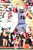 Baltimore, MD - OCT 14, 2017: Richmond Spiders running back Gordon Collins (6) Richmond Spiders offensive lineman John Yarbrough (50) and Richmond Spiders offensive lineman Blane Markham (78) celebrate a touchdown during game between Towson and Richmond at Johnny Unitas Stadium in Baltimore, MD. The Spiders defeated the Tigers 23-3. (Photo by Phil Peters/Media Images International)