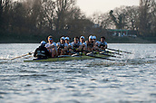 08.03.2014. River Thames, London, England.  OUBC in action during the OUBC v German VIII rowing fixture. <br /> The head to head race on the Tideway between Oxford University Boat Club VIII and a representative German VIII as part of the preparation for the 160th running of the University Boat Race sponsored by BNY Mellon on April 6th 2014.