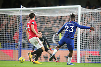 Michy Batshuayi of Chelsea mishits his shot and the ball goes the wrong side of the post during Chelsea vs Manchester United, Premier League Football at Stamford Bridge on 17th February 2020