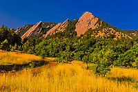 The Flatirons rock formations, Chautauqua Park, Boulder, Colorado USA.