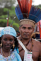 Hinddou Oumaro of Chad and Indigen Ivaldo Waiwai of Brazil on 27 January, 2009 during  leaders, social and evironmental justice groups unite at  World Social Forum to Defend the Amazon Rainforest in Belém northern Brazil.