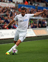 Gylfi Sigurdsson of Swansea City during the Premier League match between Swansea City and Hull City at the Liberty Stadium, Swansea on Saturday August 20th 2016