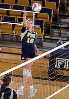 Florida International University women's volleyball player Jovana Bjelica (16) plays against Western Kentucky University.  Western Kentucky won the match 3-0 on September 30, 2011 at Miami, Florida. .