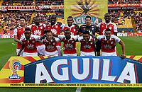BOGOTA - COLOMBIA - 25 - 02 - 2018: Los jugadores de Independiente Santa Fe posan para una foto, durante partido de la fecha 5 entre Independiente Santa Fe y Jaguares F. C., por la Liga Aguila I 2018, en el estadio Nemesio Camacho El Campin de la ciudad de Bogota. / The players of Independiente Santa Fe, pose for a photo during a match of the 5th date between Independiente Santa Fe and Jaguares F. C., for the Liga Aguila I 2018 at the Nemesio Camacho El Campin Stadium in Bogota city, Photo: VizzorImage / Luis Ramirez / Staff.
