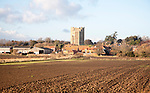 View of the village and castle looking across fields, Orford, Suffolk, England