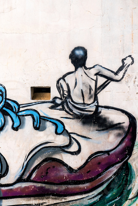 Colorful Graphic designs and elements in the streets of Phnom Penh, Cambodia