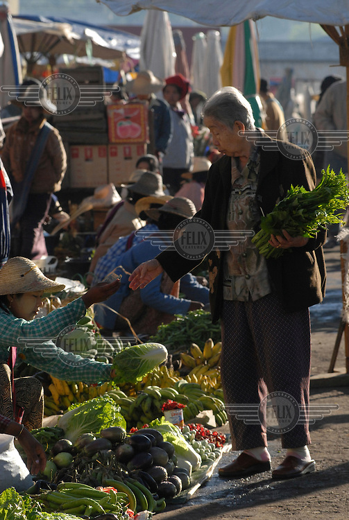 The busy central market. Taunggyi is a growing trade centre for the Southwestern part of Shan State. It is also the official 'end of the line' for eastbound foreigners in Burma.