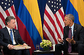 (L to R) President of Colombia Juan Manuel Santos and  United States President Barack Obama meet during a bilateral meeting at the Lotte New York Palace Hotel, September 21, 2016 in New York City. In Tuesday's speech to the United Nations General Assembly, Obama stated that 'helping Colombia end Latin America's longest war' was among his major accomplishments as president. Last month, the Colombian government reached a peace agreement with the Revolutionary Armed Forces of Colombia (FARC). <br /> Credit: Drew Angerer / Pool via CNP
