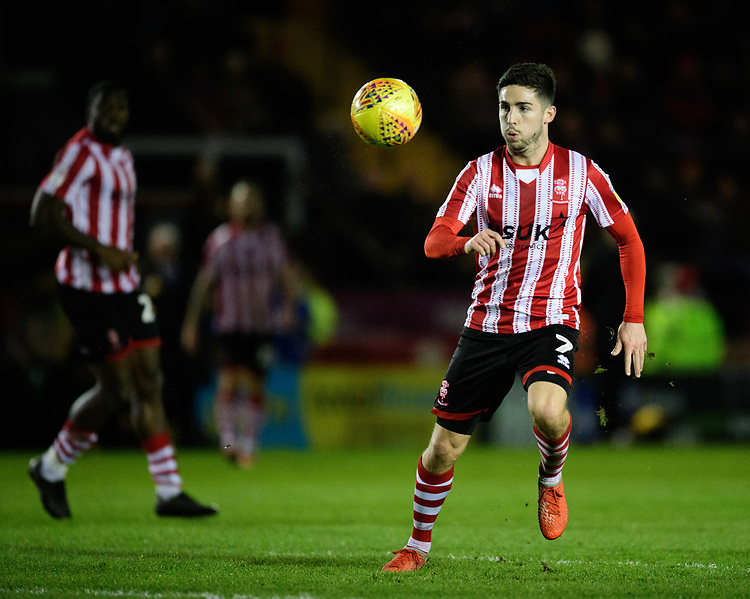Lincoln City's Tom Pett scores his side's third goal<br /> <br /> Photographer Chris Vaughan/CameraSport<br /> <br /> The EFL Sky Bet League Two - Lincoln City v Newport County - Saturday 22nd December 201 - Sincil Bank - Lincoln<br /> <br /> World Copyright © 2018 CameraSport. All rights reserved. 43 Linden Ave. Countesthorpe. Leicester. England. LE8 5PG - Tel: +44 (0) 116 277 4147 - admin@camerasport.com - www.camerasport.com