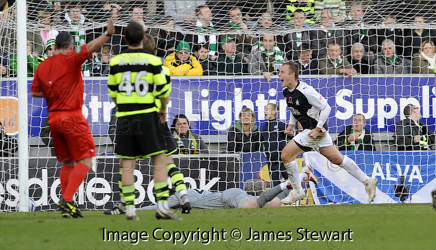 08/11/2009  Copyright  Pic : James Stewart.sct_jspa12_falkirk_v_celtic  . :: SCOTT ARFIELD CELEBRATES AFTER HE SCORES FALKIRK'S FIRST FROM THE SPOT :: .James Stewart Photography 19 Carronlea Drive, Falkirk. FK2 8DN      Vat Reg No. 607 6932 25.Telephone      : +44 (0)1324 570291 .Mobile              : +44 (0)7721 416997.E-mail  :  jim@jspa.co.uk.If you require further information then contact Jim Stewart on any of the numbers above.........