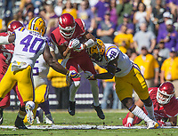 NWA Democrat-Gazette/BEN GOFF @NWABENGOFF<br /> Devin White (40) and Donnie Alexander (48), LSU linebackers, tackle Jonathan Nance, Arkansas wide receiver, after a catch in the first quarter Saturday, Nov. 11, 2017 at Tiger Stadium in Baton Rouge, La.