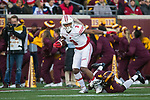 Wisconsin Badgers wide receiver Kendric Pryor (3) carries the ball during an NCAA College Big Ten Conference football game against the Minnesota Golden Gophers Saturday, November 25, 2017, in Minneapolis, Minnesota. (Photo by David Stluka)