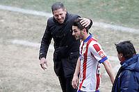 Atletico de Madrid's coach Diego Pablo Cholo Simeone with Koke Resurrecccion injured during La Liga match.February 7,2015. (ALTERPHOTOS/Acero) /NORTEphoto.com