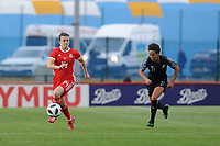 Hayley Ladd of Wales Women's' in action during the Women's International Friendly match between Wales and New Zealand at the Cardiff International Sports Stadium in Cardiff, Wales, UK. Tuesday 04 June, 2019