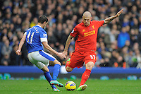 28.10.2012 Liverpool, England. Martin Skrtel of Liverpool    in action during the Premier League game between Everton and Liverpool  from Goodison Park ,Liverpool