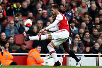 7th March 2020; Emirates Stadium, London, England; English Premier League Football, Arsenal versus West Ham United; Pablo Mari of Arsenal competes for the ball with Michail Antonio of West Ham United