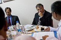 Bill Gates, co-chair of the Bill and Melinda Gates Foundation (BMGF) (right) and BMGF Deputy Director of TB, Dr. Peter Small (left), sit down for a meeting on tuberculosis with doctors at the Lala Ram Swawrup (LRS) Institute of Tuberculosis and Respiratory Diseases in New Delhi, India on 24th March 2011, World TB Day.