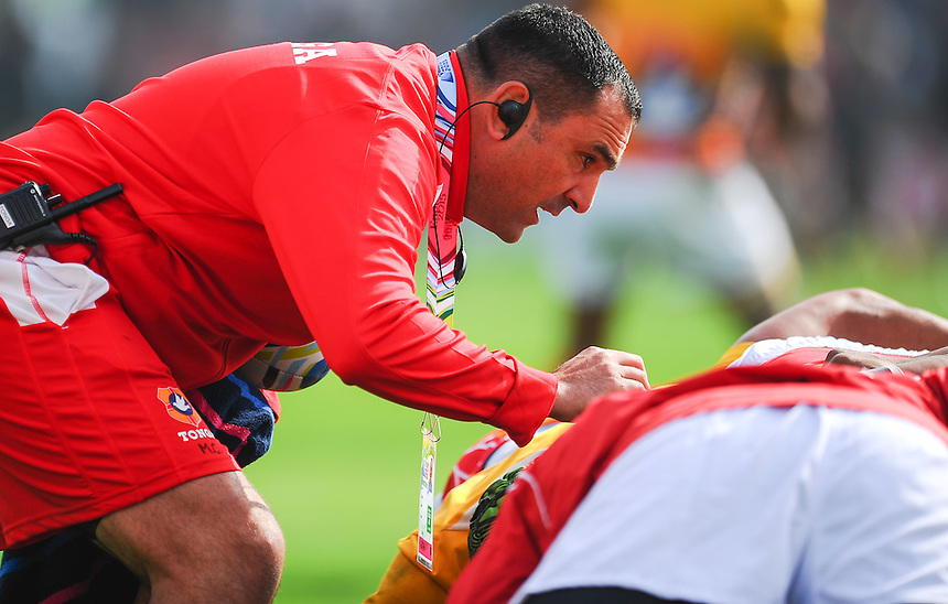 Georgia scrum coach Marco Caputo during the pre match warm up<br /> <br /> Photographer Craig Thomas/CameraSport<br /> <br /> Rugby Union - 2015 Rugby World Cup - 12;00  Georgia v Tonga - Saturday 19th September 2015 - Kingsholm - Gloucester <br /> <br /> &copy; CameraSport - 43 Linden Ave. Countesthorpe. Leicester. England. LE8 5PG - Tel: +44 (0) 116 277 4147 - admin@camerasport.com - www.camerasport.com