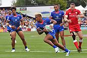 January 27th, Hamilton, New Zealand;  Samoa's Danny Tusitala runs past the try line to score during the Day 2 of the HSBC World Rugby Sevens Series 2019, FMG Stadium Waikato,Hamilton, Sunday 27th January 2019.