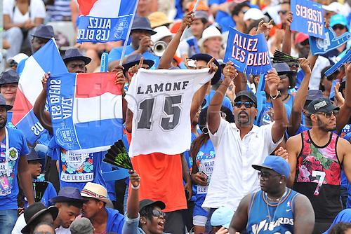04.03.2016. Vélodrome Amédée Detraux, Guadeloupe, France. Davis Cup 1st round. France versus Canada.  French fans