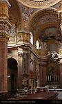 Nave Left Side High Altar Apse Niche Vault Faux Marble Pilasters Piers Frescoes Giacinto Brandi San Carlo al Corso Rome