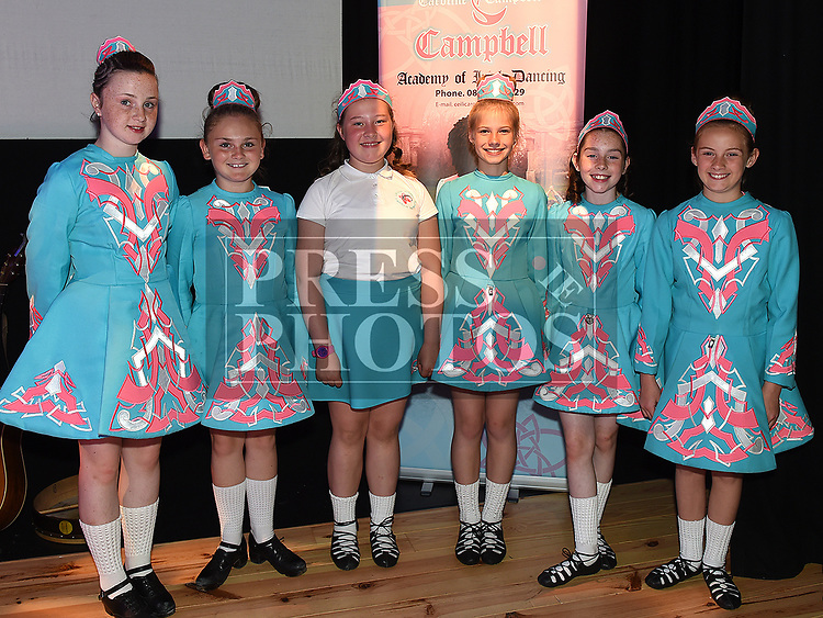 Leah Martin, Deyna Sullivan, Anna Paul, Melanija Meiere, Jennifer Smith and Nessa Lynch who took part in the Caroline Campbell Academy of Irish Dancing show in the Droichead Arts Centre. Photo:Colin Bell/pressphotos.ie