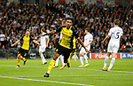 Dortmund's Pierre-Emerick Aubameyang celebrates as his goal is disallowed during the champions league match at Wembley Stadium, London. Picture date 13th September 2017. Picture credit should read: David Klein/Sportimage