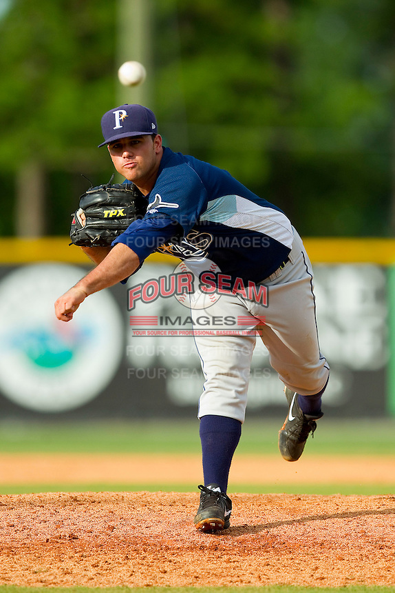 Princeton Rays relief pitcher Stone Speer (1) in action against the Burlington Royals at Burlington Athletic Park on July 5, 2013 in Burlington, North Carolina.  The Royals defeated the Rays 5-1 in game one of a doubleheader.  (Brian Westerholt/Four Seam Images)