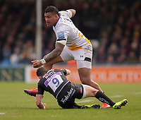 Wasps' Nathan Hughes is tackled by Exeter Chiefs' Nic White<br /> <br /> Photographer Bob Bradford/CameraSport<br /> <br /> Gallagher Premiership - Exeter Chiefs v Wasps - Sunday 14th April 2019 - Sandy Park - Exeter<br /> <br /> World Copyright © 2019 CameraSport. All rights reserved. 43 Linden Ave. Countesthorpe. Leicester. England. LE8 5PG - Tel: +44 (0) 116 277 4147 - admin@camerasport.com - www.camerasport.com