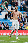 Real Madrid's Karim Benzema celebrates the victory during La Liga match between Real Madrid and SD Eibar at Santiago Bernabeu Stadium in Madrid, Spain.April 06, 2019. (ALTERPHOTOS/A. Perez Meca)