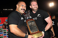 PRETORIA, SOUTH AFRICA - OCTOBER 06: Karl Tu'inukuafe with Kieran Read (captain) of the New Zealand All Blacks after the Rugby Championship match between South Africa Springboks and New Zealand All Blacks at Loftus Versfeld Stadium. on October 6, 2018 in Pretoria, South Africa. Photo: Steve Haag / stevehaagsports.com