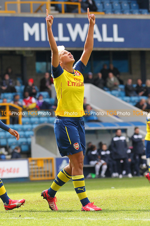 Lianne Sanderson of Arsenal Ladies scores the second goal and celebrates - Millwall Lionesses vs Arsenal Ladies - FA Womens Challenge Cup 5th Round Football at the New Den, Bermondsey, London - 22/03/15 - MANDATORY CREDIT: TGSPHOTO - Self billing applies where appropriate - contact@tgsphoto.co.uk - NO UNPAID USE