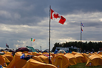 Tents in Spring Town. Canadian flag in front. Photo: Magnus Fröderberg/Scouterna