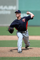 Minnesota Twins pitcher Cameron Booser (13) during an Instructional League game against the Boston Red Sox on September 26, 2014 at jetBlue Park at Fenway South in Fort Myers, Florida.  (Mike Janes/Four Seam Images)