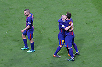 FC Barcelona's Jordi Alba, Andres Iniesta and Leo Messi celebrate goal during Spanish King's Cup Final match. April 21,2018. (ALTERPHOTOS/Acero)